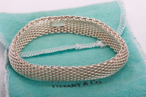 Auth Tiffany & Co Somerset Mesh Bangle Bracelet Size 8