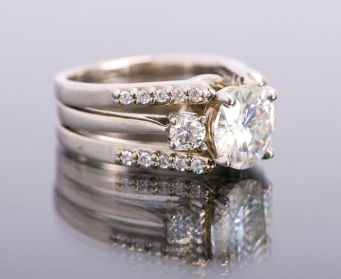 diamond and moissanite ring