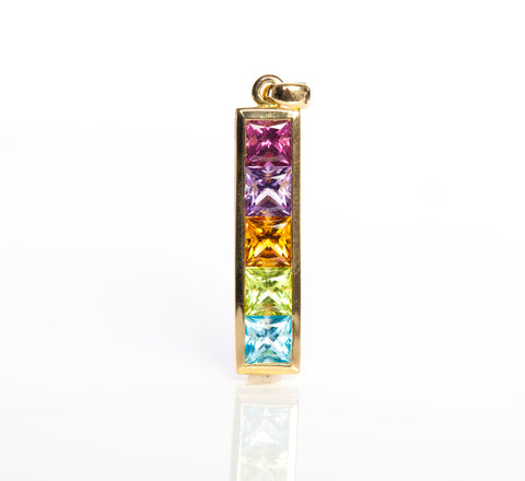 18K Yellow Gold Amethyst, Citrine, Peridot, Topaz Pendant (No chain)