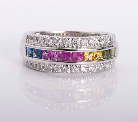18k White Gold Multi Color Sapphire Band