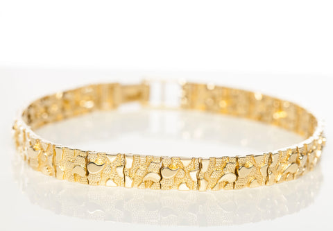 10k Yellow Gold Mens Nugget Bracelet