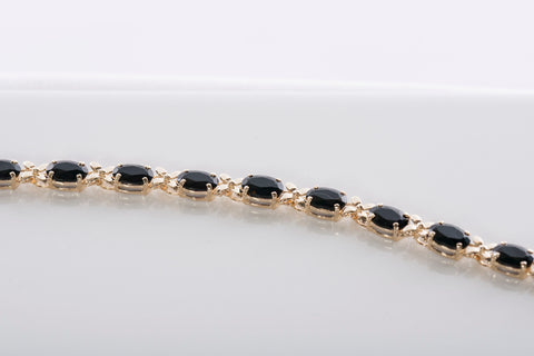 Beautiful Black Onyx and Gold Tennis Bracelet