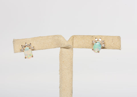Dainty Opal Diamond Earrings 14k Yellow Gold