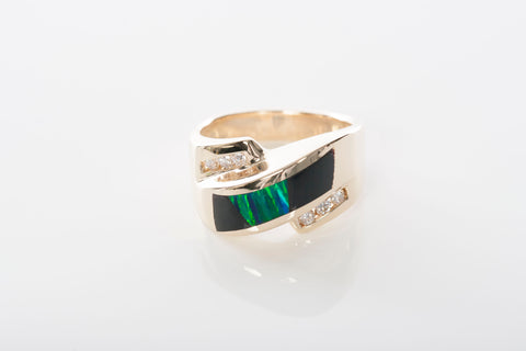 Unique Solid 14k Yellow Gold Diamond, Onyx, and Opal Fashion Ring