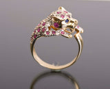 Jaguar 14k Ruby Diamond Saphire Ring 4.6 grams