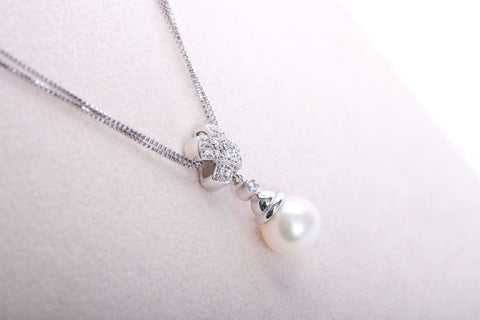 Estate Pearl Necklace with Diamonds