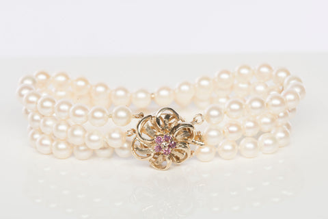 14K Diamond, Pink Sapphire and Layered Pearl Bracelet