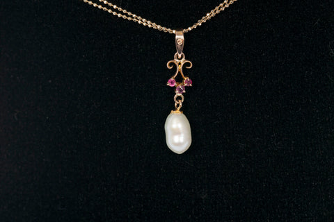 Vintage-Style Ruby and Freshwater Pearl Pendant