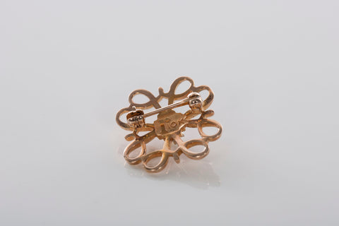 10K Gold Clover and Pearl Brooch / Pin