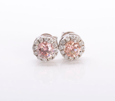 .74tcw PINK DIAMOND 14k White Gold Stud Earrings