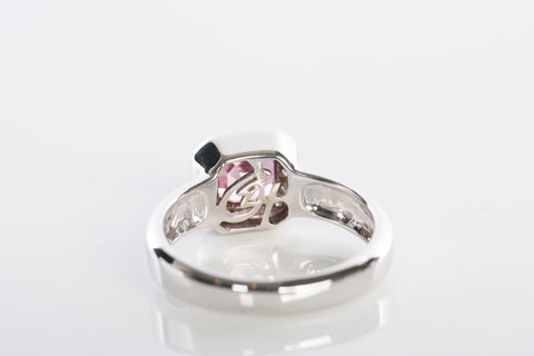 18K White Gold Diamond & Pink Tourmaline Ring
