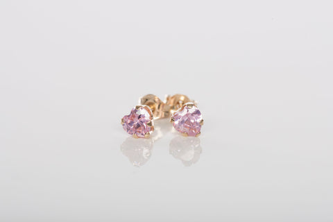 10K Yellow Gold and Pink Heart Crystal Stud Earrings