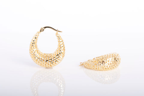 puffy hoop earrings in 14k yellow gold