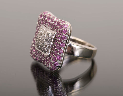 Estate Pink Sapphire and Pave Diamond 14k White Gold Ring