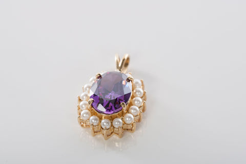 Beautiful Amethyst and Pearl Pendant