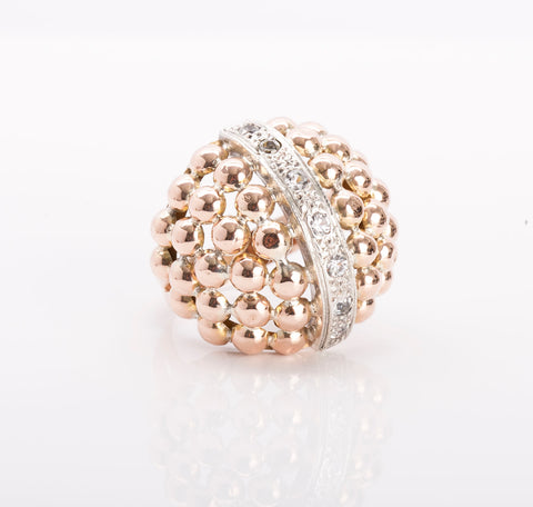 Beautiful 18k Rose Gold Ladies Beaded Dome Ring Size 6