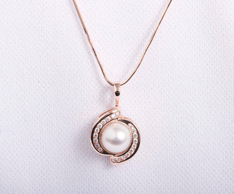 14k Rose Gold Pearl and Diamond Necklace 22""