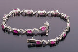 Stunning 14k White Gold and Natural Ruby Tennis Bracelet