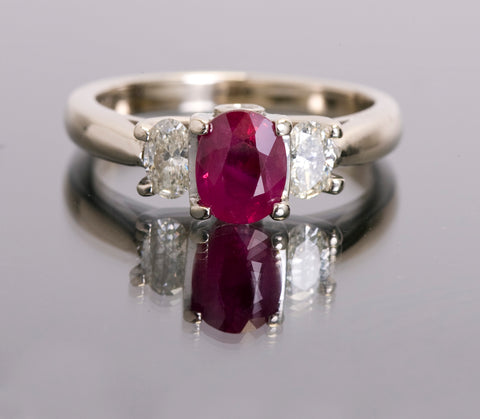 .98 ct Natural Ruby 14k White Gold .58ctw Natural Diamonds