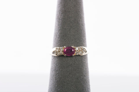 Sweet 14k Yellow Gold Diamond and Ruby Ring