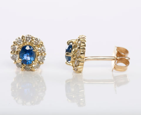 Diamond and Blue Sapphire Stud Earrings