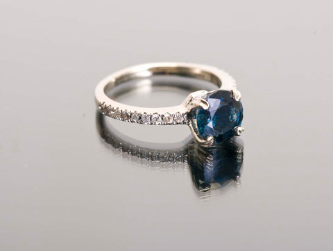 14k White Gold 1.46ct Sapphire Diamond Engagement Ring