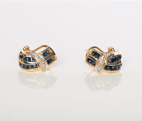 Elegant 18K Sapphire and Diamond Lever-Back Earrings