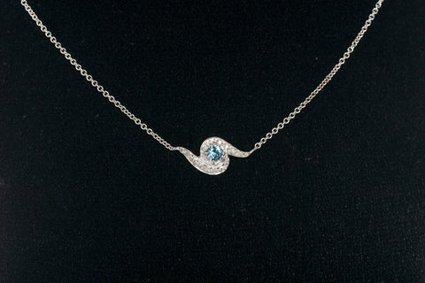 Stunning Natural Montana Sapphire & Diamond Necklace
