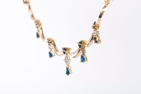 Elegant 14K Gold Diamond and Sapphire Necklace