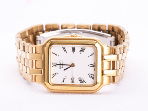 Mens seiko 7N01-5010 R1 Quartz Watch Gold Tone White Dial