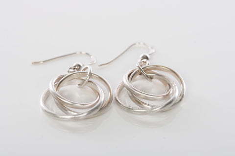 Trendy Sterling Silver Layered Circle Dangle Drop Earrings