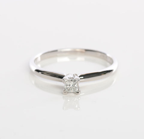 14KWG Ladies Princess Cut Diamond Solitaire Ring