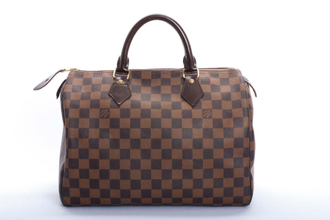 Auth Louis Vuitton Speedy 30 Damier Handbag w/ COA