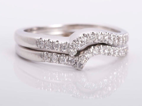 14k White Set of two Chevron Diamond rings Size 6.75