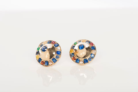 Unique 14k Yellow Gold Multi-Stone Earrings
