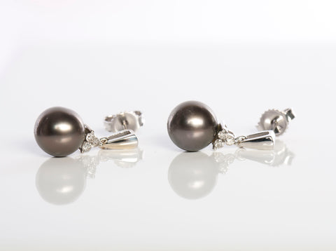 14K White Gold Tahitian Pearl Earrings with Diamonds