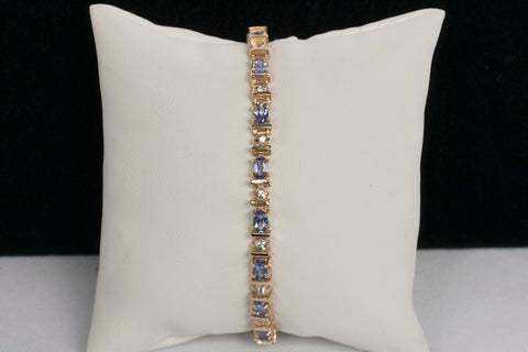 Beautiful 10K Tanzanite & White Sapphire Tennis Bracelet
