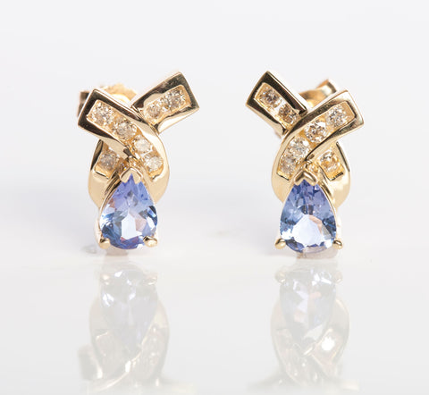 Tanzanite and Diamnond Earrings