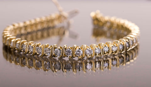 14k Yellow Gold 5ctw Natural Diamond Tennis Bracelet