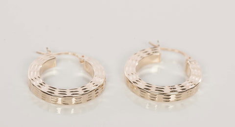 14k Yellow Gold Diamond Cut Small Hoops
