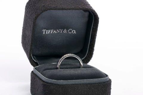 Authentic TIFFANY & CO 2mm Platinum Diamond Band