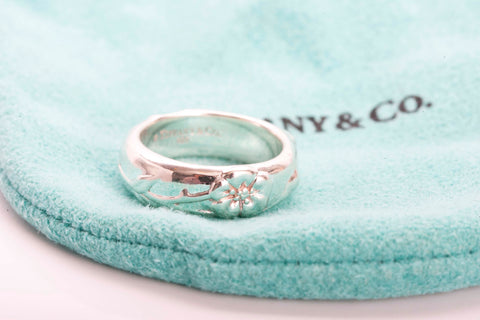 Authentic TIFFANY & CO Nature Rose Flower Ring Band Size 4