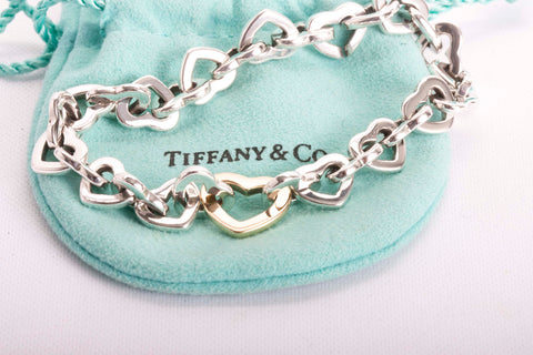 Auth. TIFFANY & Co. Gold Heart Link Bracelet 18k Sterling Silver 7.25""