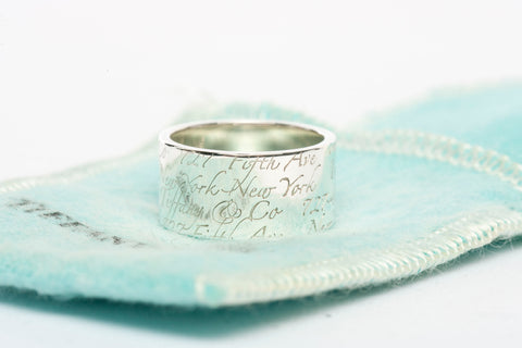 Tiffany & Co. Sterling Silver-Script Notes Wide Ring/Band 6.5