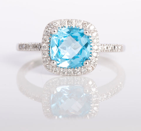 White Gold Diamond & Topaz Ring