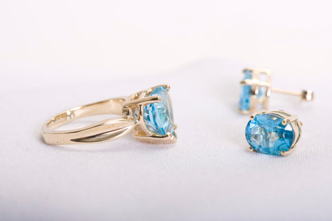 Estate Topaz Ring/Earring Set Yellow Gold