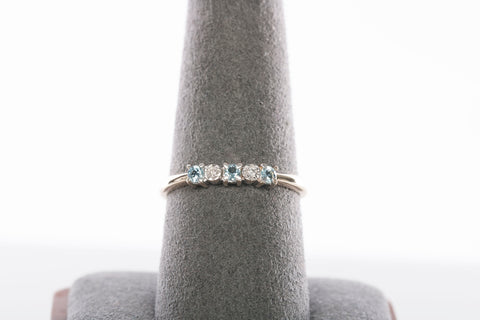 10K Yellow Gold Diamond and Blue Topaz Band / Ring
