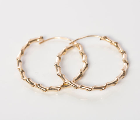 14K Yellow Gold Spiral Hollow Hoop Earrings