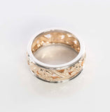 14K Two-tone Gold Eternity Floral Band (Size 4)