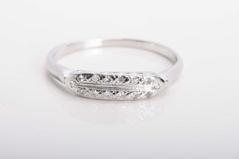 Vintage Platinum Two Row Diamond Band